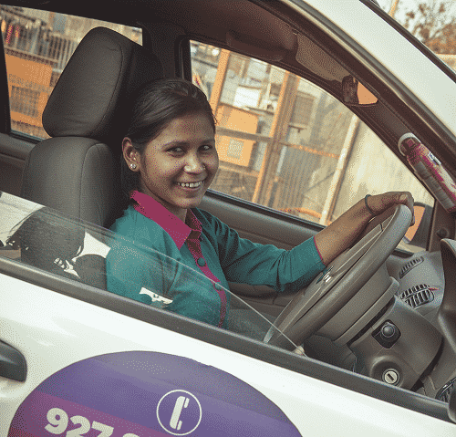 Indian woman in a car, Azad's signature program, Women on Wheels