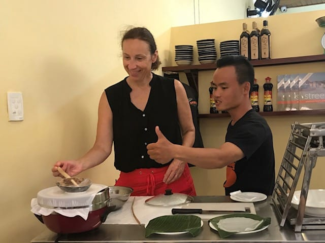 luxury travel advisor Theresa Jackson at a cooking class in Hanoi, Vietnam, Planeterra project