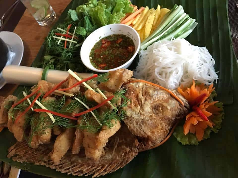 beautiful Vietnamese authentic food dish at the Hanoi Food Culture restaurant, social enterprise in Hanoi Vietnam