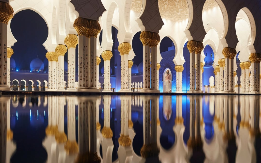 Sheikh Zayed Grand Mosque Reflections Night, vacation in Abu Dhabi