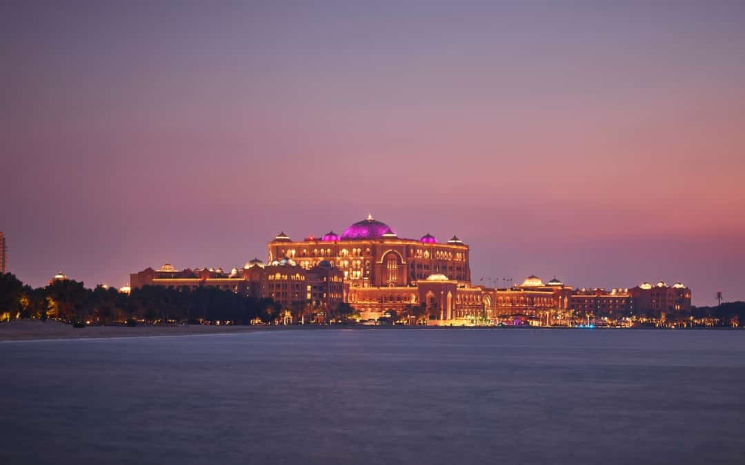 Emirates Palace water view, vacation in Abu Dhabi
