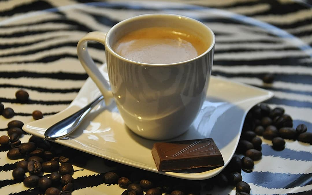cup of coffee with chocolate in a cafe in Jordan, travel in Jordan