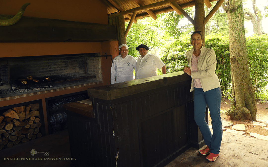 luxury travel advisor Theresa Jackson in the outdoor kitchen at the Estancia La Bamba De Areco in the countryside in Buenos Aires, Argentina