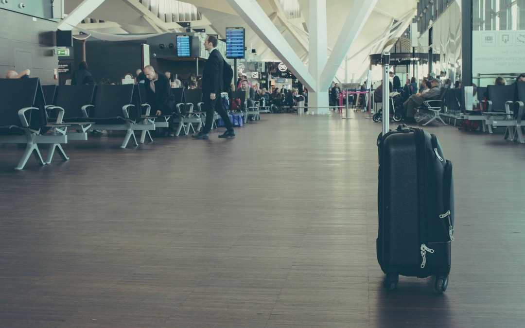 smart luggage at an airport, new smart luggage travel restrictions