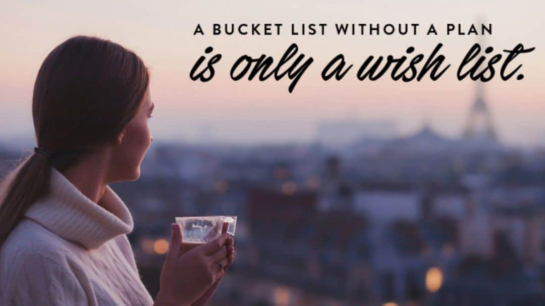 a woman sitting in a hotel window, looking to the Eiffel tower in Paris, text a bucket list without a plan is only a wish list, An ENLIGHTENED Journey Starts with Extraordinary Planning - How to Turn Your Bucket List into a Travel PLAN