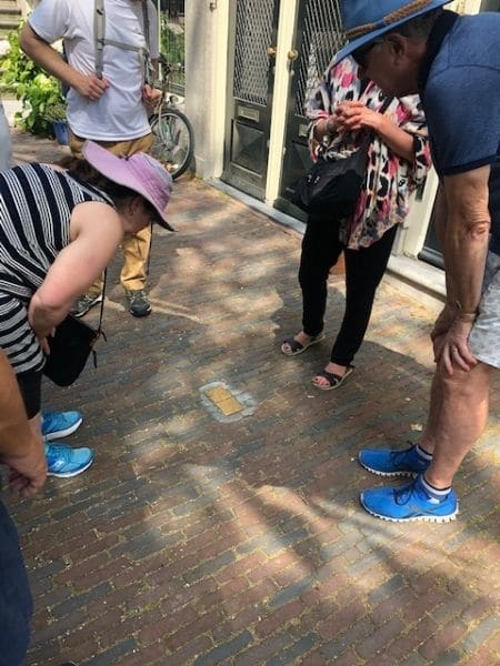 stumbling stones on Jewish history tour in Amsterdam